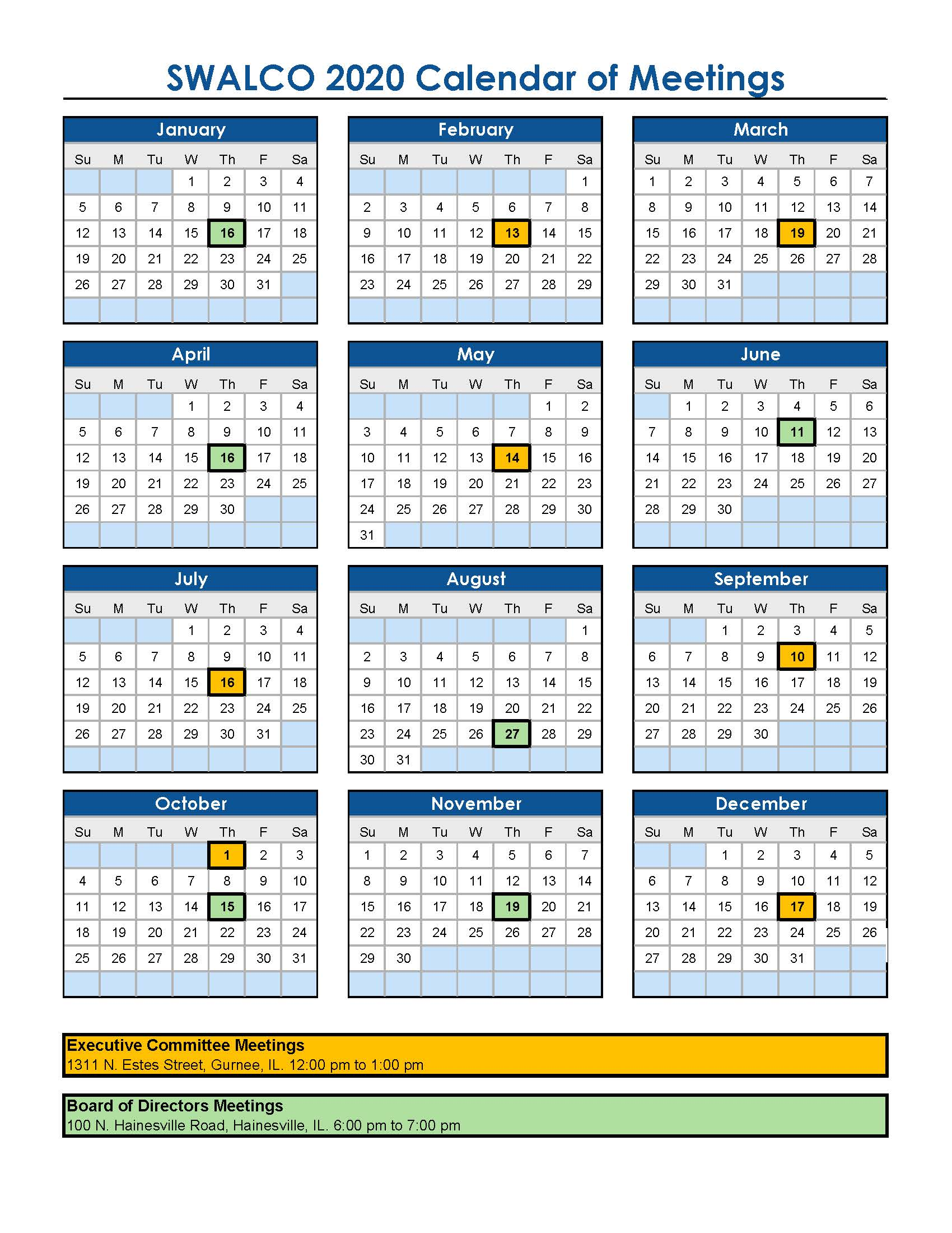 Approved Calendar of Mtgs 2020